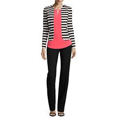 Worthington® Striped Jacket, Top or Curvy Fit Straight Leg Pants