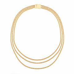 Monet Jewelry Womens Goldtone Three Row Collar Necklace