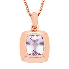 Womens Pink Amethyst Gold Over Silver Pendant Necklace