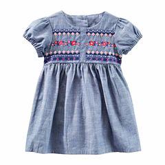 Oshkosh Short Sleeve Cap Sleeve Babydoll Dress - Baby Girls