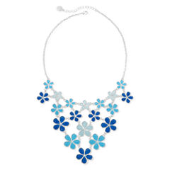 Liz Claiborne® Blue Flower Silver-Tone Collar Bib Necklace