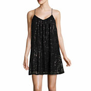 City Triangle Sleeveless Sequin Slip Dress-Juniors