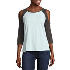 3/4 Sleeve Scoop Neck T-Shirt-Juniors
