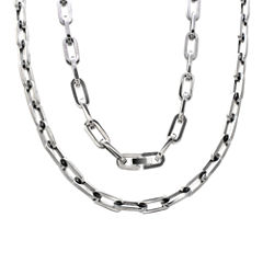 Mens Stainless Steel Oval Link  Chain and Bracelet Set