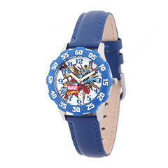 Marvel® Captain America Kids Blue Leather Strap Watch