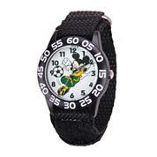 Disney Mickey Mouse Soccer Kids Black Nylon Strap Watch