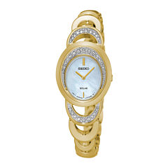 Seiko® Womens Crystal-Accent Mother of Pearl Gold-Tone Bracelet Watch