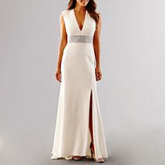 Blu Sage Short Sleeve Beaded Wedding Gown