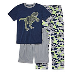 Arizona 3-pc.Dinosaur Short Sleeve-Big Kid Boys