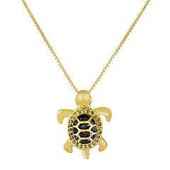 1/10 CT. T.W. Color-Enhanced Black & Green Diamond Turtle Pendant Necklace