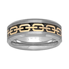 Mens 8mm Comfort Fit Chain Inlay Tungsten Wedding Band