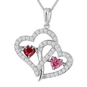 Love In Motion™ Lab-Created Ruby with Pink and White Sapphire Pendant Necklace