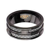 Mens Black IP Stainless Steel Gray Carbon Fiber Inlay Ring