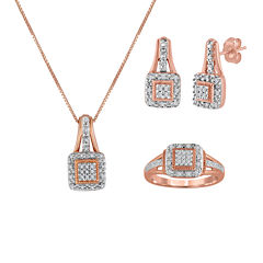 1/10 CT. T.W. Diamond 14K Rose Gold Over Silver Pendant Necklace, Earrings, or Ring