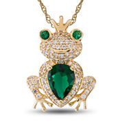 Womens Green Emerald Sterling Silver Gold Over Silver Pendant Necklace