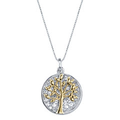 Inspired Moments Two-Tone Sterling Silver Crystal Inspirational Family Tree Pendant Necklace