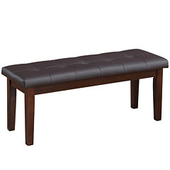 Chocolate Brown Bonded Leather Dining Bench