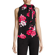 Liz Claiborne® Sleeveless Tie-Neck Print Top