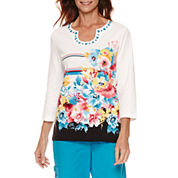 Alfred Dunner Tropical Vibe Short Sleeve Floral Stripe T-Shirt