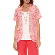 Alfred Dunner Tropical Vibe Short Sleeve Layered Top