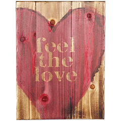 Feel the Love Textured Wood Wall Decor