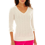 jcp™ Wool-Blend Cable Knit V-Neck Sweater - Talls
