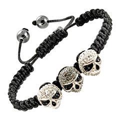 Mens Gray Crystal Skulls & Hematite Bracelet