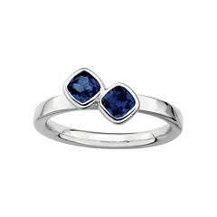 Personally Stackable Sterling Silver Lab-Created Sapphire Ring