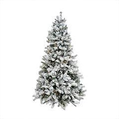 7.5' Pre-Lit Single Plug Flocked Victoria Pine Artificial Christmas Tree - Multi-Function LED Lights