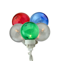 Set of 100 Multi-Color G30 Globe Icicle Christmas Lights with White Wire