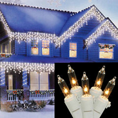 Set of 150 Heavy-Duty Commercial Grade Clear Icicle Lights with White Wire Connect 5