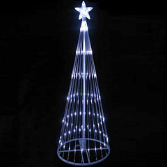 12' Pure White LED Lighted Show Cone Christmas Tree Yard Art