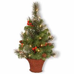 National Tree Co. 3 Foot Crestwood Spruce Half Pre-Lit Christmas Tree