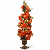 National Tree Co. 4 Foot Red Ribbon & Gold Stripes Entrance Christmas Tree