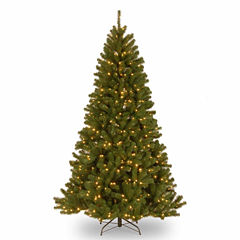 National Tree Co. 7 Foot North Valley Spruce Hinged Pre-Lit Christmas Tree