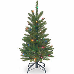 National Tree Co. 3 Foot Kingswood Fir Wrapped Pencil Pre-Lit Christmas Tree
