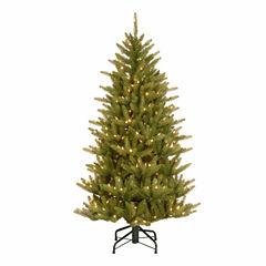 National Tree Co. 4 1/2 Foot Natural Frasier Slim Hinged Pre-Lit Christmas Tree