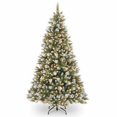 National Tree Co. 7 1/2 Foot Frost-Alaskan Pine Hinged Pre-Lit Christmas Tree