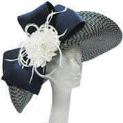 Whittall & Shon Derby Hat Lg Upbrim With Bow And Flower