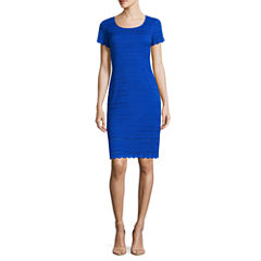 Ronni Nicole Short Sleeve Lace Sheath Dress-Petites