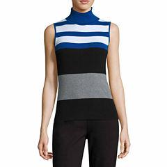 Liz Claiborne Sleeveless Ribbed Turtleneck Sweater-Talls