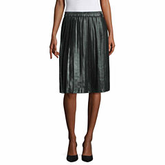 Liz Claiborne Solid Woven Pleated Skirt Talls