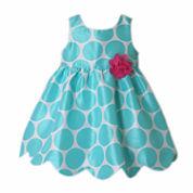 Pinky Sleeveless Empire Waist Dress - Baby