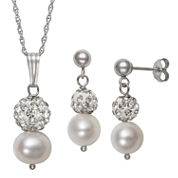 Womens 2-pc. White Pearl Sterling Silver Jewelry Set