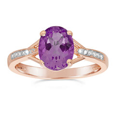 Womens Diamond Accent Purple Amethyst Gold Over Silver Cocktail Ring