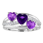 Genuine Amethyst & White Sapphire Sterling Silver Triple Heart Ring