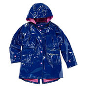 Pink Platinum Girls Hooded Shiny Raincoat