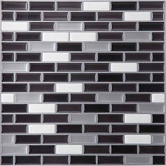 Magic Gel Silver/Black 9.125x9.125 Self Adhesive Vinyl Wall Tile - 6 Tiles/20.82 Sq Ft.