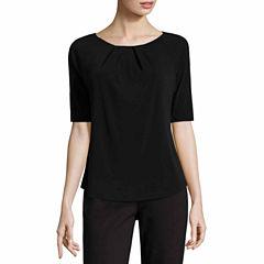 Liz Claiborne Elbow Sleeve Crew Neck T-Shirt