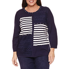 Alfred Dunner 3/4 Sleeve Crew Neck Pullover Sweater-Plus